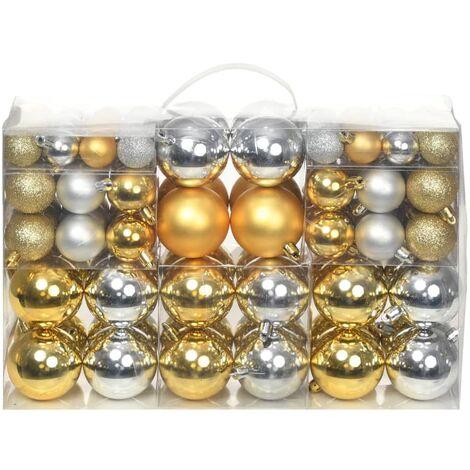 Bolas de Navidad 100 unidades plateado/dorado