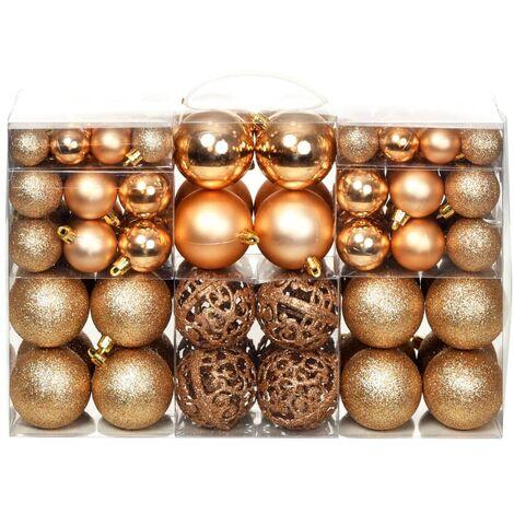 a7f686fabeb0e Lote de bolas de Navidad 100 unidades rosas doradas 6 cm