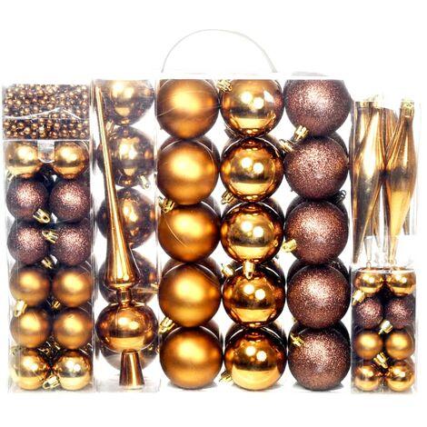 Lote de bolas de Navidad 113 unidades 6 cm marrón/bronce/dorado