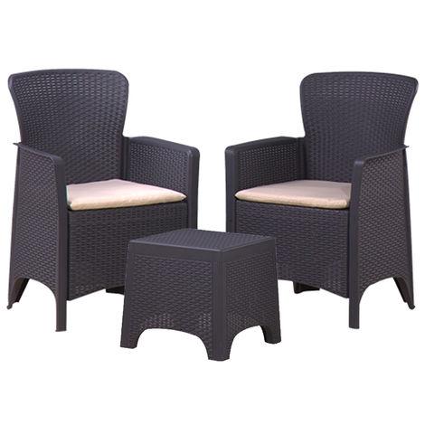 Lote de sillas de mimbre Marbella en color grafito y cojines en crema