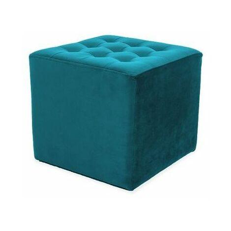 LOTI | Pouf rembourré salon/chambre/acceuil | Dimensions : 34x39x39 cm | Rembourrage en velours | Assise confortable - Bleu