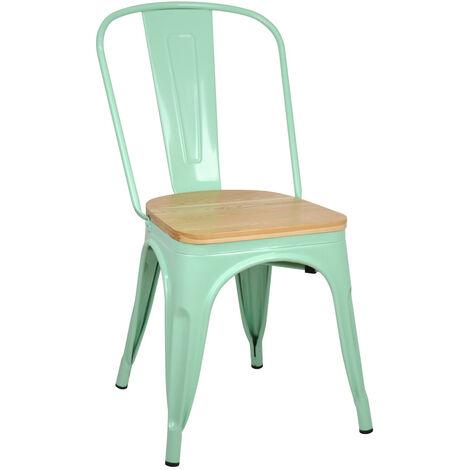 Lotto di 4 sedie industriali Tulio Aciaio Verde con sedile in legno 46x52x85cm.