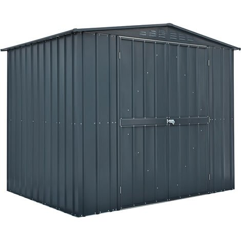 Lotus 8x6 Double Hinged Door Apex Metal Shed - Anthracite Grey