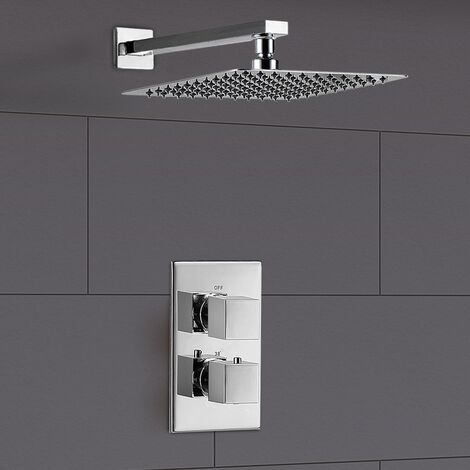 Lotus Square Rain Shower Head with Concealed Thermostatic Mixer Tap