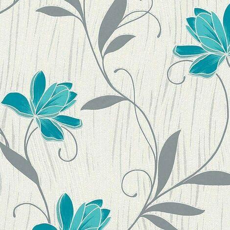 Lotus Wallpaper AS Creation Floral Textured Glitter Vinyl Grey Teal Blue White