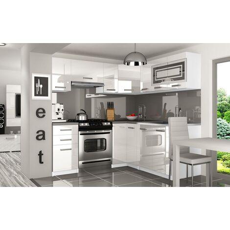 LOUKA | Cuisine Complète d'angle + Modulaire L 360 cm 9 pcs | Plan de travail INCLUS | Ensemble armoires meubles cuisine | Blanc/Gris - Blanc/Gris