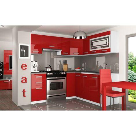 LOUKA   Cuisine Complète d'angle + Modulaire L 360 cm 9 pcs   Plan de travail INCLUS   Ensemble armoires meubles de cuisine   Rouge
