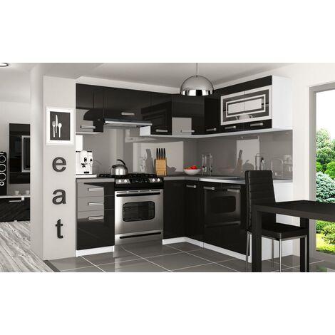 LOUKA | Cuisine Complète d'angle + Modulaire L 360cm 9 pcs | Plan de travail INCLUS | Ensemble armoires meubles de cuisine | Noir - Noir
