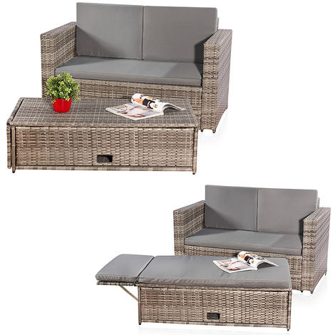 Lounge Garden furniture Sofa Bench Table folding Rattan Garden set Seating grey NEW
