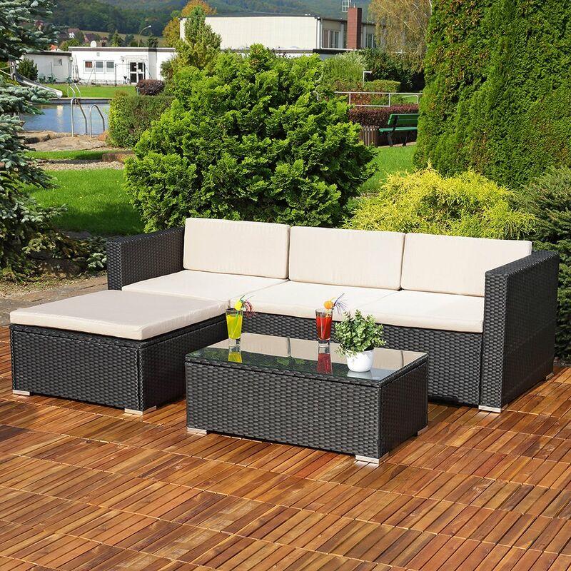 Lounge Gartengarnitur Sofa Tisch Kissen schwarz Polyrattan Gartenmöbel - MUCOLA