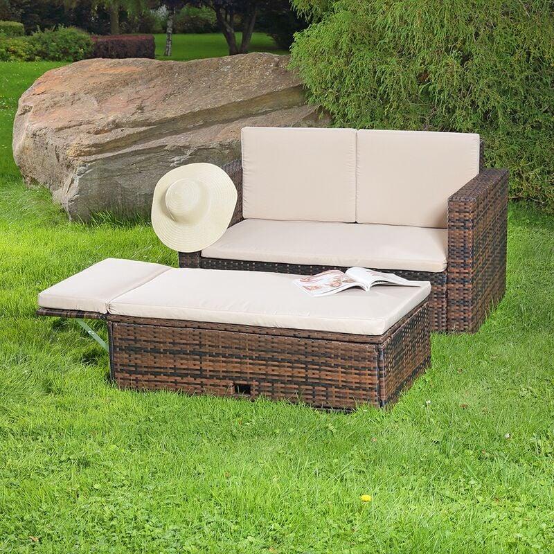 Lounge Gartenmöbel Sofa Bank Tisch klappbar Rattan Gartenset Sitzmöbel braun - MUCOLA