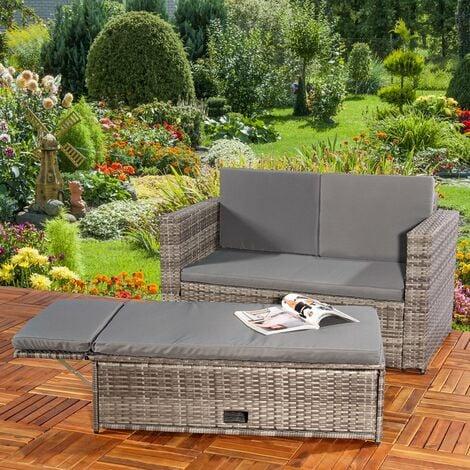 Lounge Gartenmöbel Sofa Bank Tisch Klappbar Rattan Gartenset