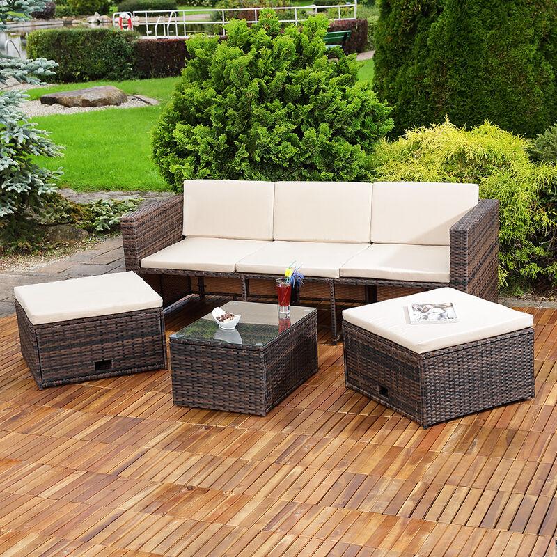 Lounge Gartenset Rattanmöbel Polyrattan Sitzmöbel Set Sofa Tisch 2 Hocker braun - MUCOLA