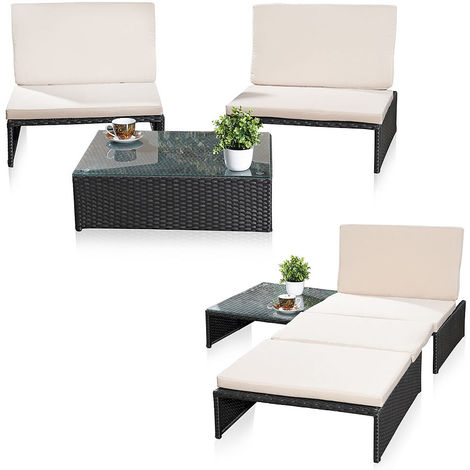 Lounge seating set Garden set Garden furniture Garden seating group 2 armchairs Table Rattan