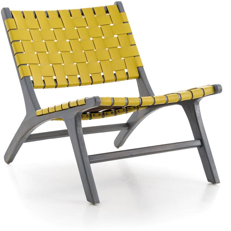 Lounge Sessel Lazy Strap gelb Teakholz Leder Clubsessel Wohnzimmer Stuhl A00000923 - DYNAMIC24