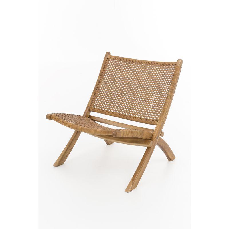 Lounge Sessel Teak Holz Leder Stuhl Clubsessel Relaxsessel klappbar Klappstuhl A00000182 - INDEX-LIVING