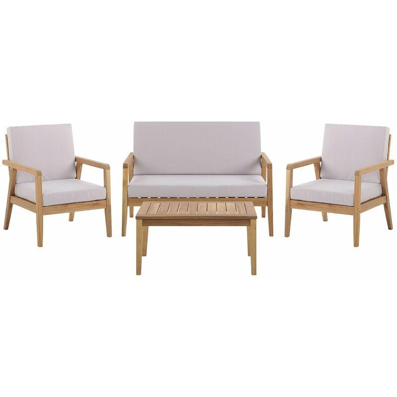 Beliani - Loungeset Braun/Grau Akazienholz und Polyester 4-teilig Sofa 2 Sessel mit Auflagen und Couchtisch Outdoor Indoor Terrasse Garten Möbel