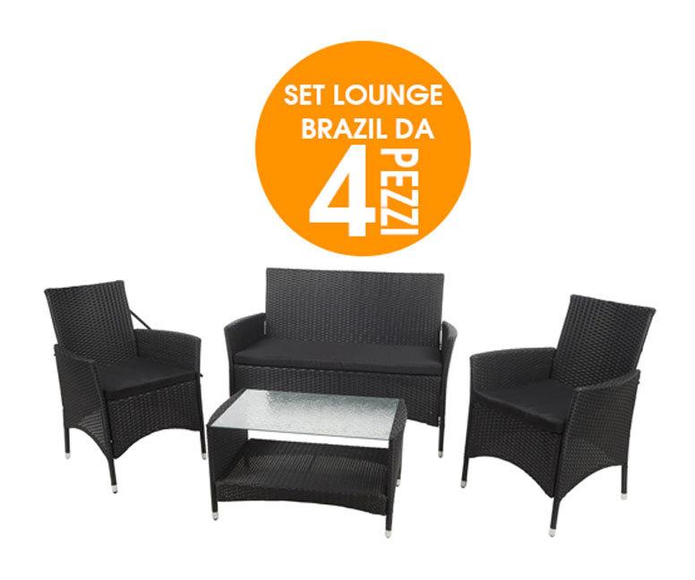 Lounge set brasil in rattan completo da arredo giardino 4 for Cuscini arredo giardino
