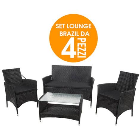Set Arredo Giardino In Rattan.Lounge Set Brasil In Rattan Completo Da Arredo Giardino 4 Pezzi