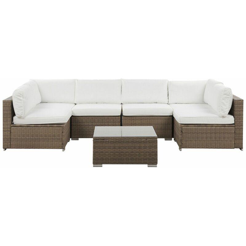 Gartenmöbel Set Braun Polyrattan Aluminium 6-Sitzer Auflagen Weiß Polyester Terrasse Outdoor Minimalistisch Modern - BELIANI