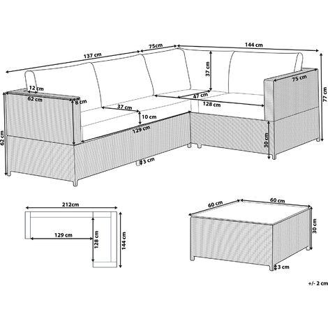 Lounge Set Rattan grau AVOLA - 96496
