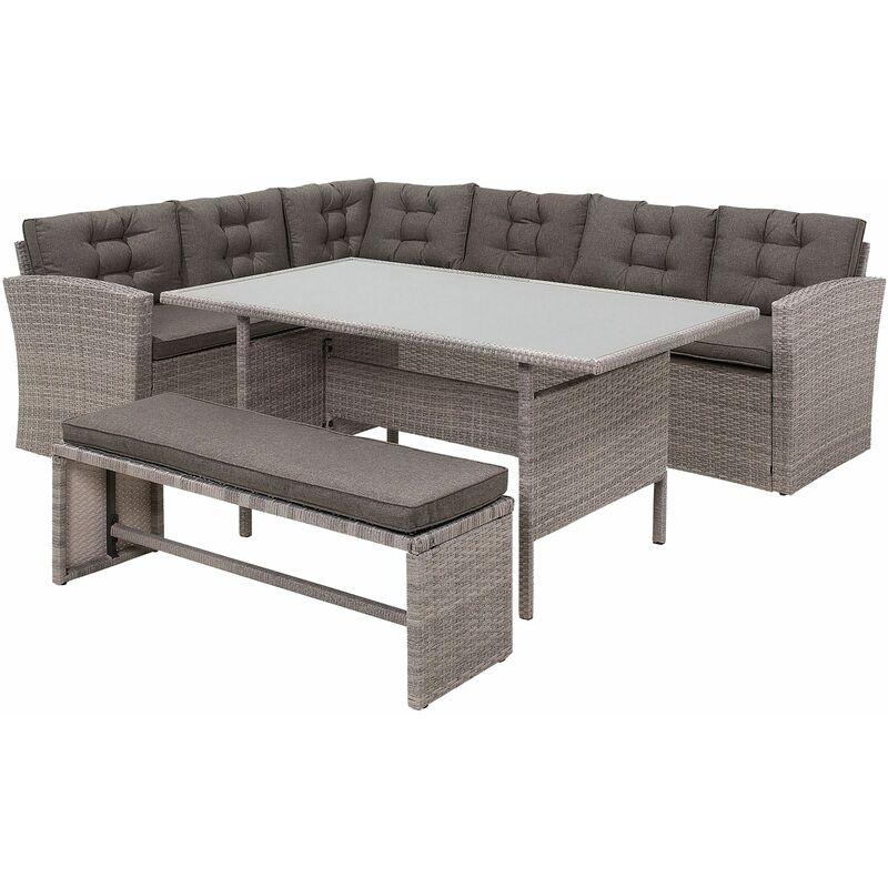 Gartenmöbel Set Grau Rattan Sicherheitsglas Textil inkl. Kissen 8-Sitzer Terrasse Outdoor Modern - BELIANI