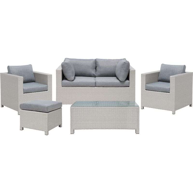 Gartenmöbel Set Grau Rattan Aluminium Textil inkl. Kissen 4-Sitzer Terrasse Outdoor Modern - BELIANI