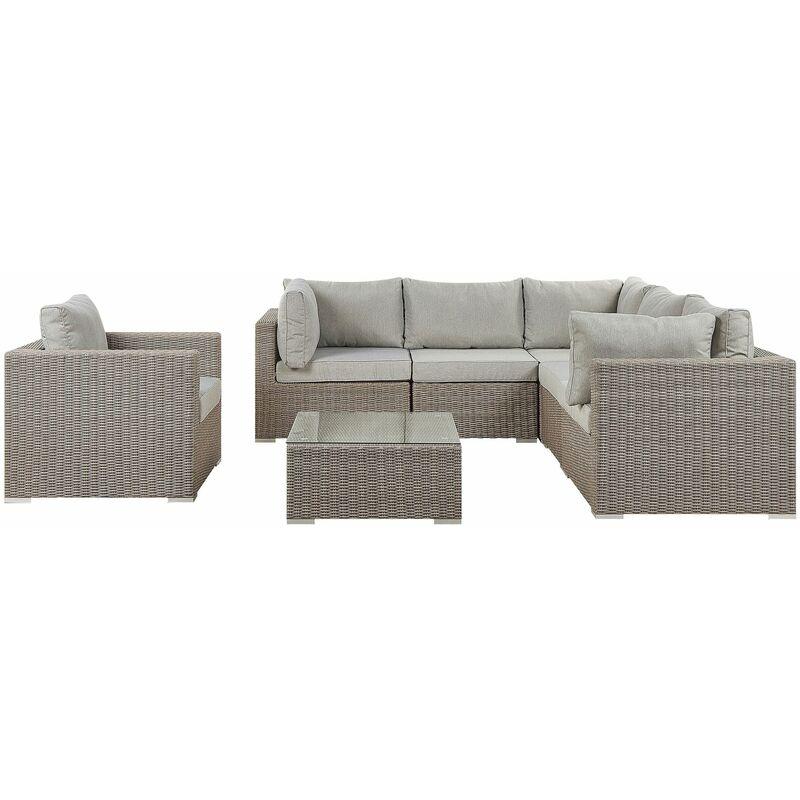 Gartenmöbel Set Taupe Rattan Textil Hellgrau inkl. Kissen 6-Sitzer Terrasse Outdoor Modern - BELIANI