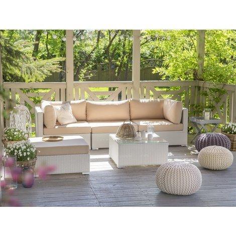 Lounge Set Rattan weiss 4-Sitzer Auflagen karamell SANO - 32530