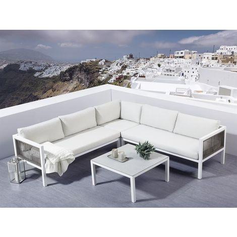 Lounge Set Rattan Weiss 4 Sitzer Borello 124691