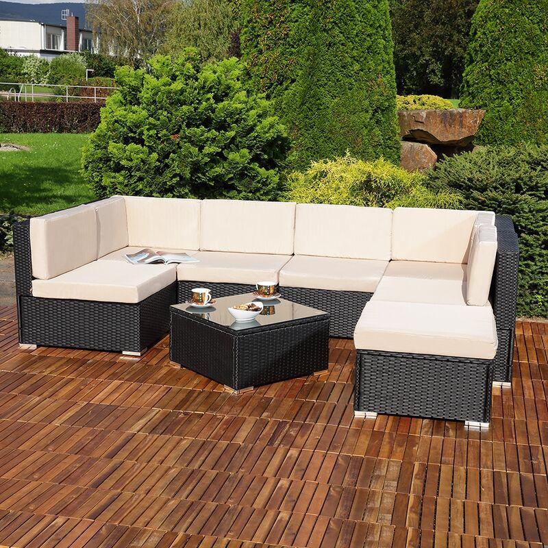 Lounge Sitzgarnitur Sitzgruppe Rattan Gartenmöbel Gartenset Sitzgruppe Terrasse - MUCOLA