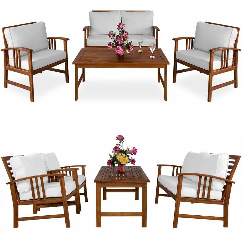 Lounge Sitzgruppe Atlas FSC®-zertifiziertes Akazien Holz Auflagen Sessel Bank Tisch Gartenmöbel Sitzgarnitur Garten Set Creme - Deuba