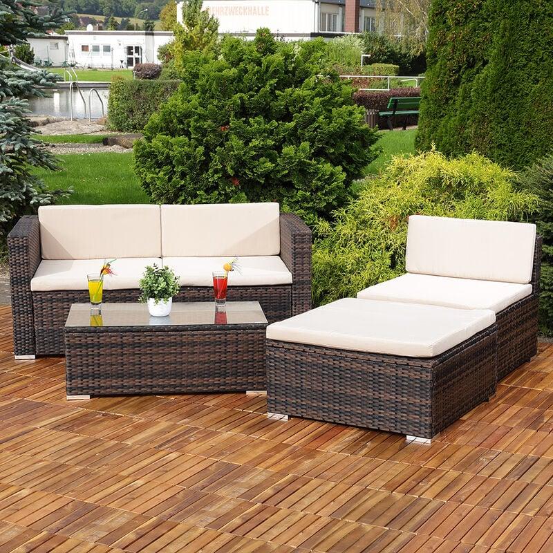 Lounge Sitzgruppe Rattanlounge Rattanmöbel Ecksofa Garten Tisch