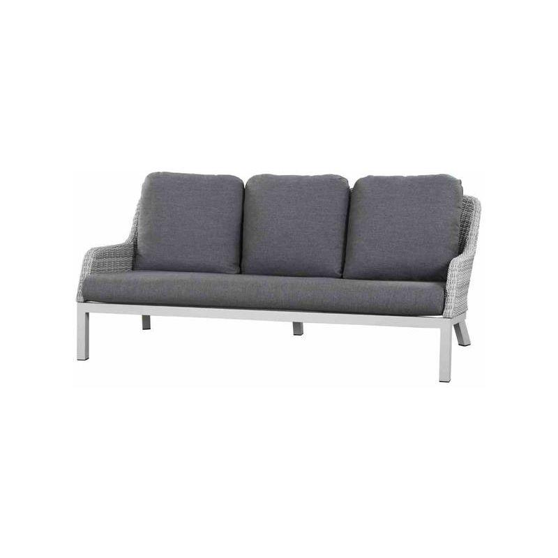 Lounge Sofa Gartensofa 3 Sitzer Siena Garden Sanero Polyrattan Grau