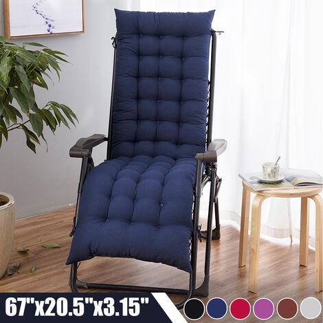 Lounger Cushion Pad Lounge Chair Recliner Rocking Sofa Mat (Navy Blue)