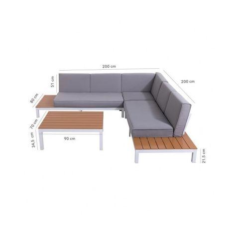 LOUNGITUDE Salon de jardin avec canape dangle 5 places en aluminium ...