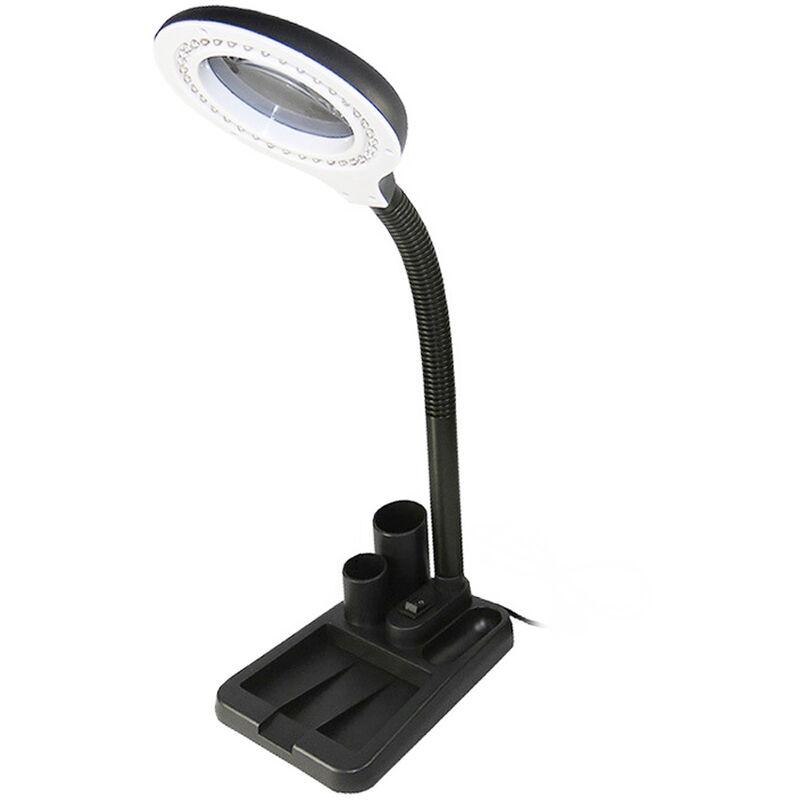 Loupe 5X / 10X, Avec Design De Stockage De Gadget, Lampe De Bureau, Ac220V 6W 40 Led