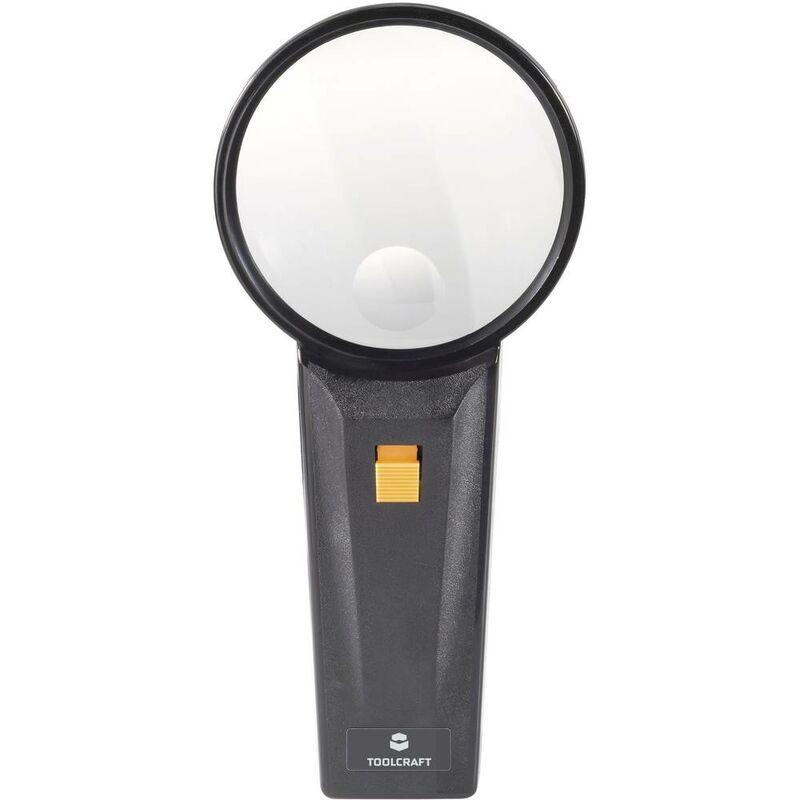821031 821031 Loupe à main avec éclairage LED Grossissement: 2 x, 4 x Lentille: (Ø) 75 mm - Toolcraft