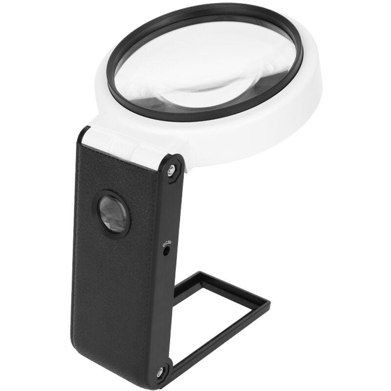 Happyshopping - Loupe amain grossissement reglable 6X / 25X Miroir de lecture pliable de 80 mm avec lumiere LED et lumiere UV de detecteur de devises