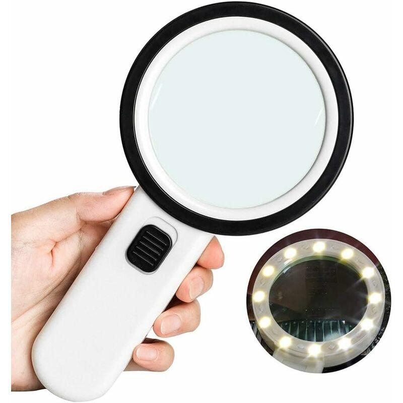 Loupe de lecture 10 × avec 12 LED, taille 106 mm, loupe à main sans distorsion avec double lentille en verre pour livres, journaux, bijoux,