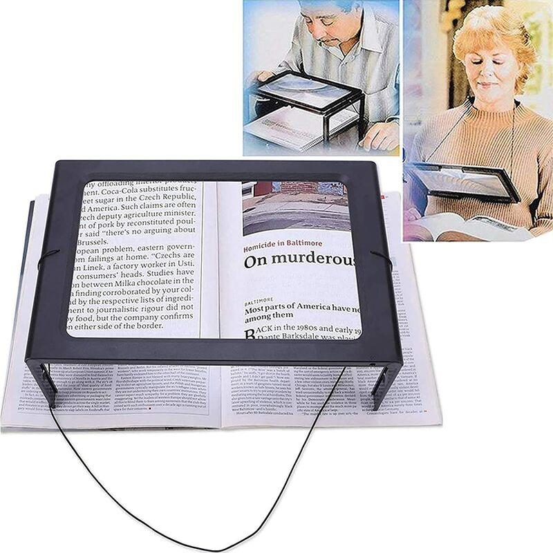 Loupe de lecture, loupe avec lumière Grossissement 3X Aide à la lecture avec 4 lumière LED pour seniors - A4 rectangulaire avec support pliable Mains