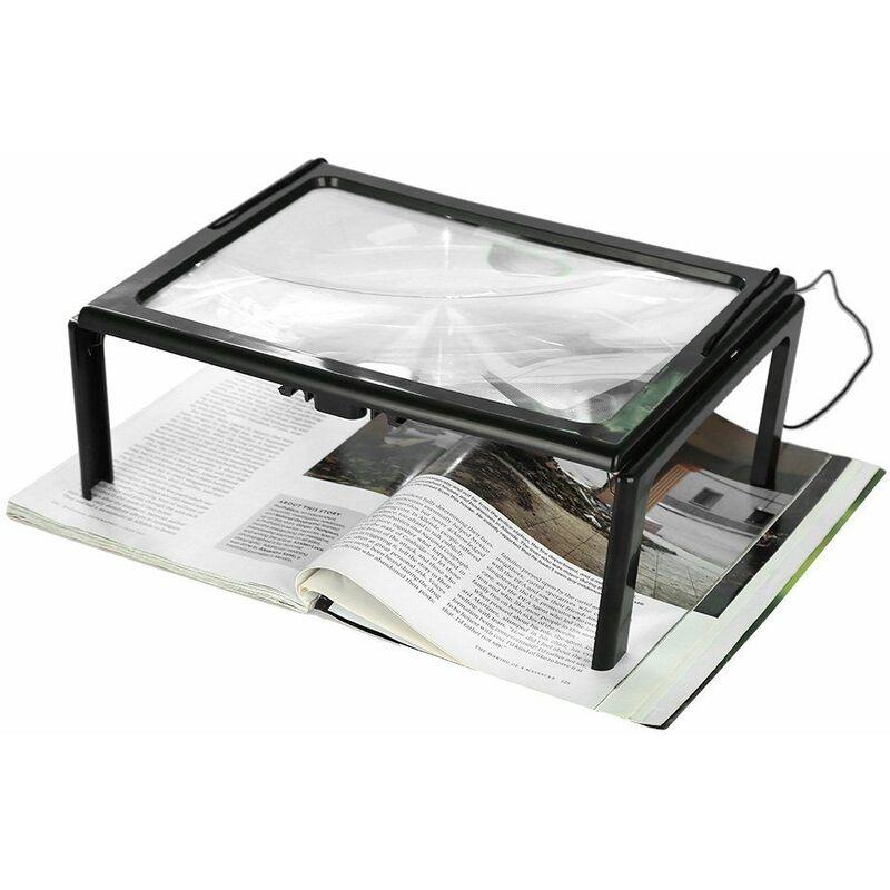 Briday - Loupe LED journal pliable ultra mince A4 pleine page loupe loupe lecture loupe loupe avec 3x 4 ampoules LED pour la lecture pour le tricot