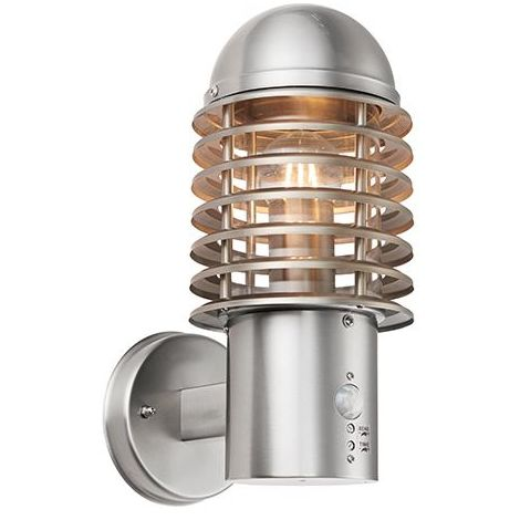 Louvre PIR 1Lt Wall Light IP44 60W - Brushed Stainless Steel Body