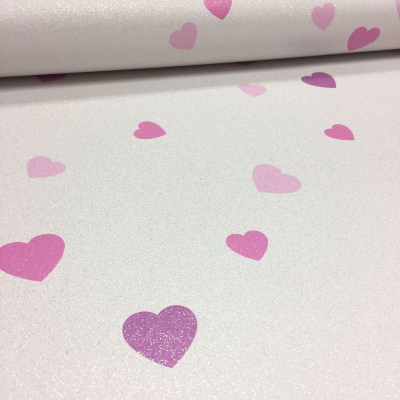 love hearts glitter wallpaper textured vinyl white pink purple paste the wall L 1504056 7060847 1