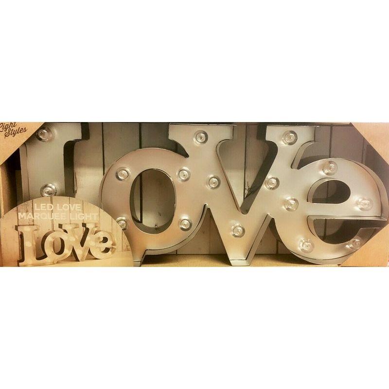 Image of Love/Home Wooden/Metal LED Word Light Up Plaque Vintage Wedding Decoration - Black Love