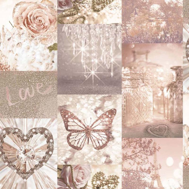 Love Paris Wallpaper Blush Pink Arthouse Glitter Sparkle ...