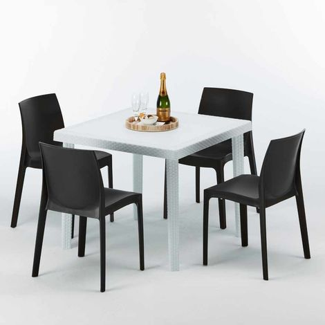 LOVE Set Made of a 90x90cm White Square Table and 4 Colourful ROME Chairs