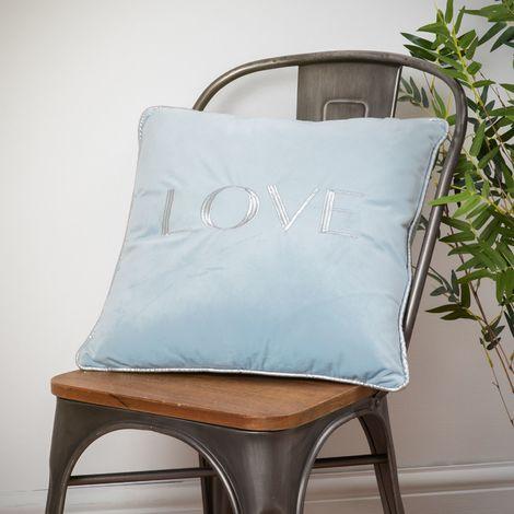Love Velvet Cushion Pastel Blue 42cm
