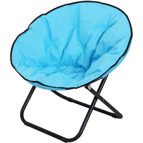 Loveuse fauteuil rond de jardin fauteuil lune papasan pliable grand confort 80L x 80l x 75H cm grand coussin fourni oxford bleu