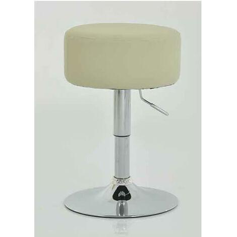 Low Bar Stool - Cream Padded Seat Height Adjustable Cream